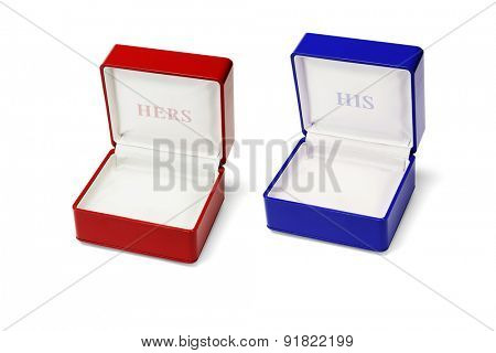 Empty His and Hers Jewellery Boxes on White Background