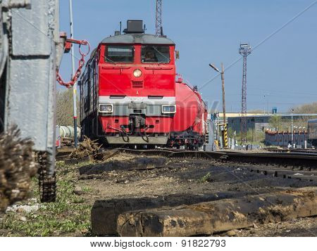 A moving freight train