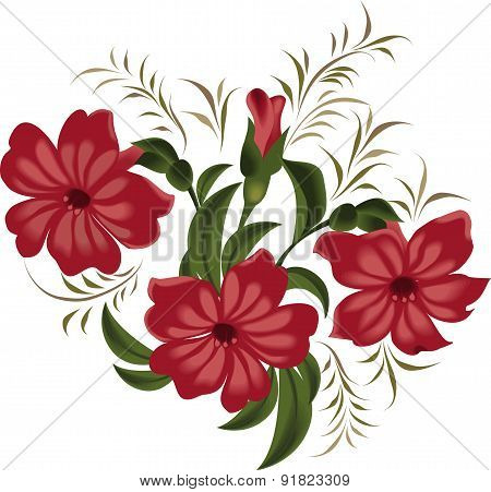 Vector illustration of red flowers in vintage style on a white background.