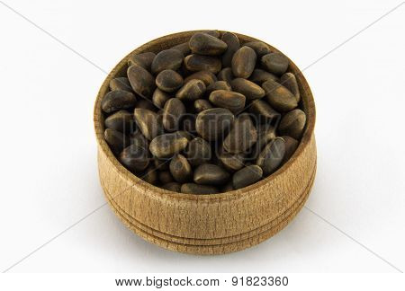 Pine Nuts In A Round Wooden Form