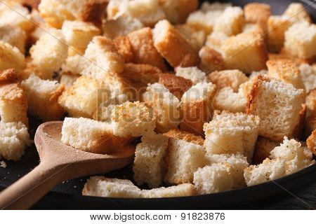 Homemade Crunches In A Pan Macro. Horizontal