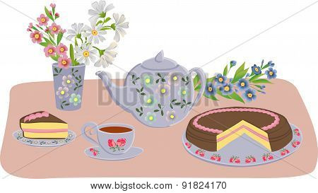 Vector composition with kettle, cups, cake and flowers. Set of isolated objects.
