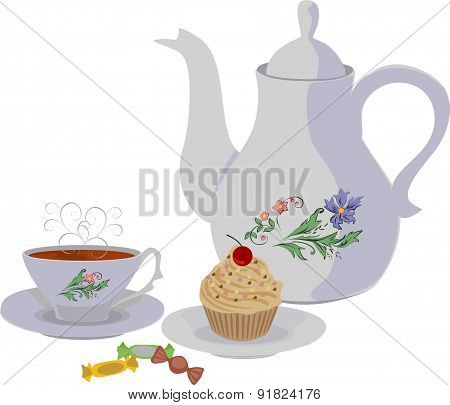 Teapot and Cup with tea and cake. Vector isolated objects.