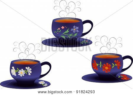 Vector illustration of whites Cups with flower pattern.