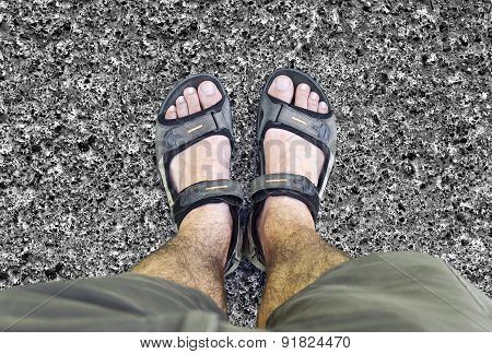 Black Sandals On The Road
