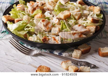 Delicious Caesar Salad With Grilled Chicken Breast Horizontal