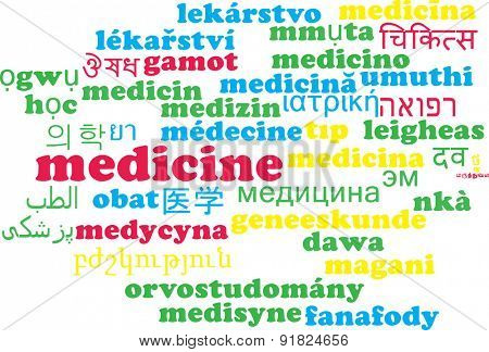 Background concept wordcloud multilanguage international many language illustration of medicine