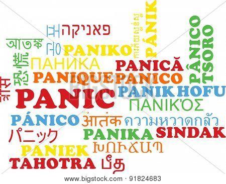 Background concept wordcloud multilanguage international many language illustration of panic