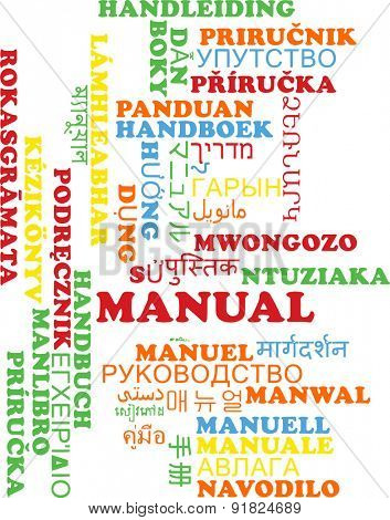 Background concept wordcloud multilanguage international many language illustration of manual
