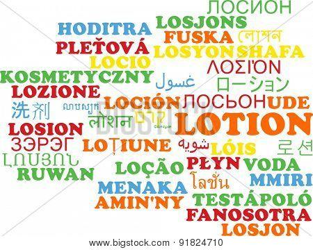 Background concept wordcloud multilanguage international many language illustration of lotion