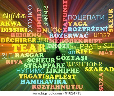 Background concept wordcloud multilanguage international many language illustration of tear glowing light