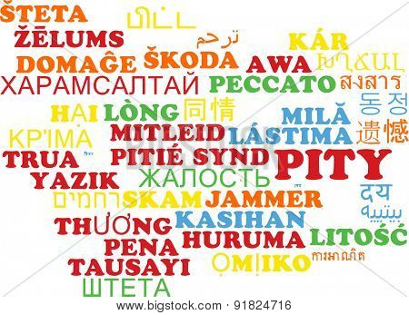 Background concept wordcloud multilanguage international many language illustration of pity