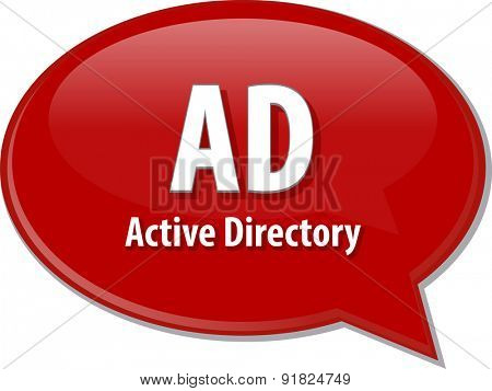 speech bubble illustration of information technology acronym abbreviation term definition, AD Active Directory