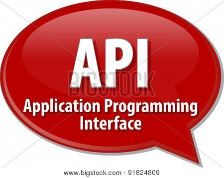 speech bubble illustration of information technology acronym abbreviation term definition API Application Programming Interface