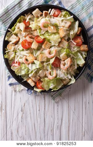 Caesar Salad With Shrimps Vertical Top View