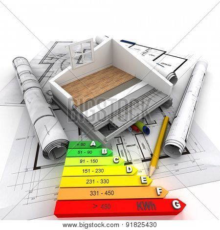 3D rendering of a house cross section, blueprints and an energy efficiency chart