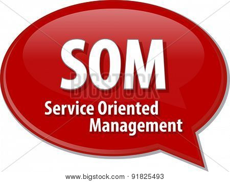 word speech bubble illustration of business acronym term SOM Service Oriented Management