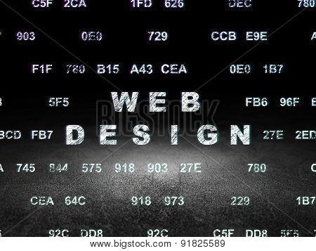 Web development concept: Web Design in grunge dark room