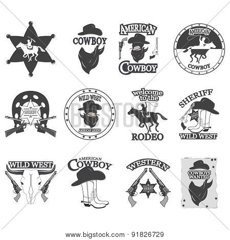 Set of vintage cowboy emblems, labels, badges, logos and designed elements. Wild West theme. Monochr