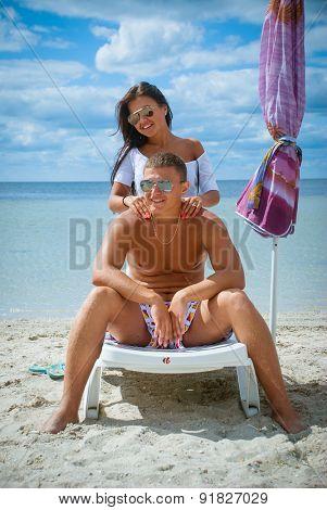 portrait of happy couple enjoying vacations