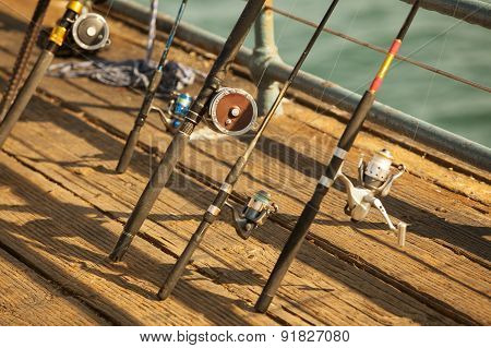 Fishing Reels On The Dock