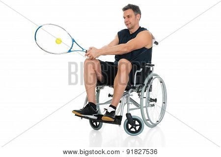 Handicapped Player Playing Tennis