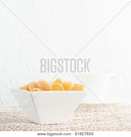 Candy Ginger In White Porcelain Bowl