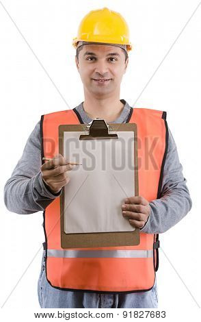 Construction worker with clipboard on hand over white background.