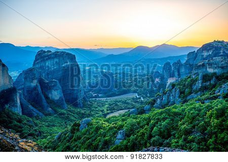 Beautiful sunset view on the mountains