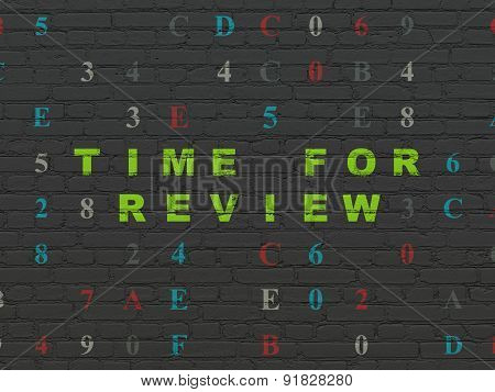 Timeline concept: Time for Review on wall background