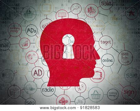 Marketing concept: Head With Keyhole on Digital Paper background