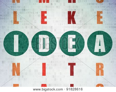 Advertising concept: word Idea in solving Crossword Puzzle