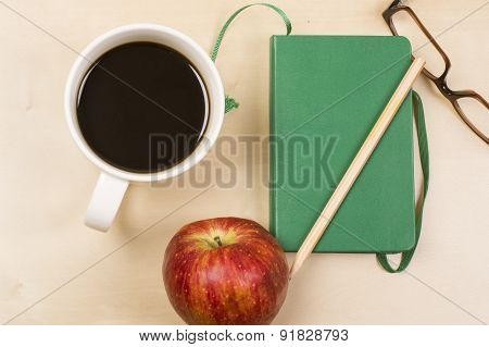 Coffee Apple Red Pencil Glasses Notebook Planning Eat Work