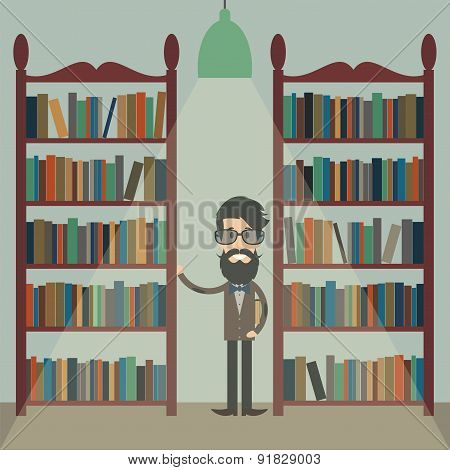 Illustration Of A Man With A Book Between Bookshelves In The Library.