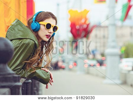 Young hipster woman . Outdoor portrait