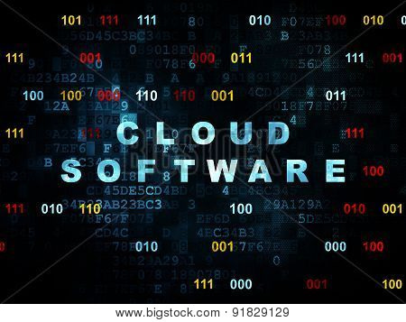 Cloud technology concept: Cloud Software on Digital background