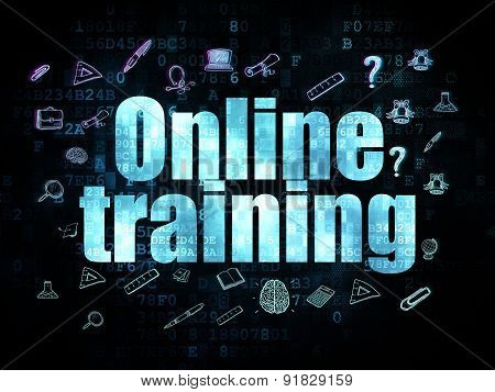 Studying concept: Online Training on Digital background