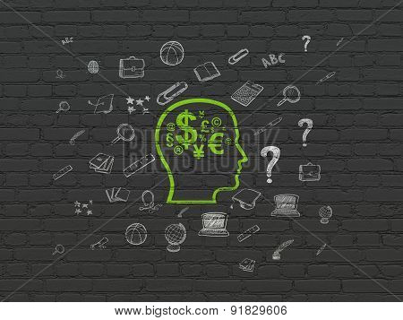 Learning concept: Head With Finance Symbol on wall background