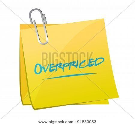 Overpriced Post Sign Concept Illustration