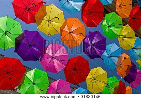 Umbrellas Hunging Over The Streets