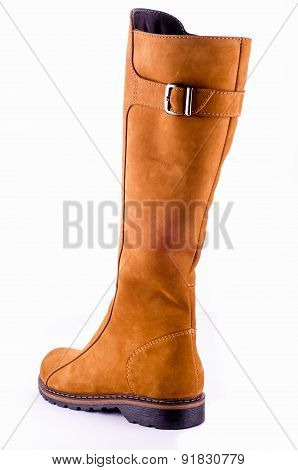 female boots isolated on white suede red color