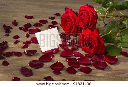 roses as a gift and surprise to a feast. symbolic photo for birthday, mother's day, love, valentine's day