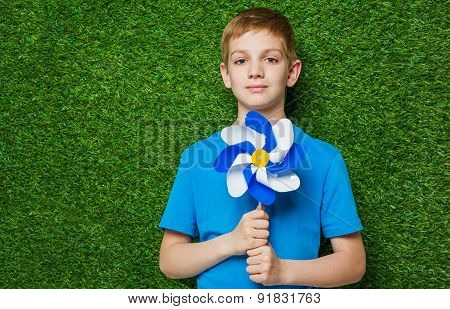 Portrait of a boy holding pinwheel over grass