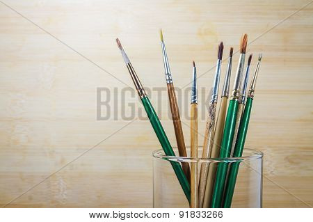 Photo Of Paint Brushes In A Glass