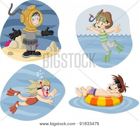 Kids wearing Scuba diving suit. Cartoon divers.