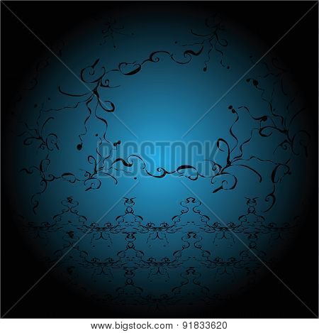 blue ball with designs on a black background