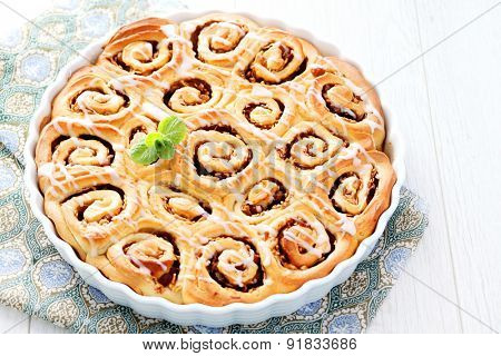 homemade yeast cake with apples - sweet food