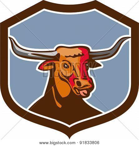 Texas Longhorn Red Bull Shield Retro