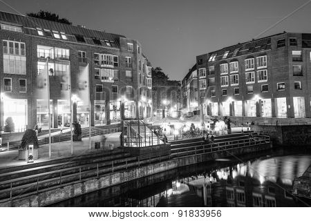 DUSSELDORF, GERMANY - SEPTEMBER 16, 2014: Dusseldorf at night. Dusseldorf is the capital city of the German state of North Rhine-Westphalia and centre of the Rhine-Ruhr metropolitan region.
