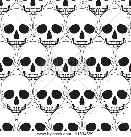 Simple Skull Seamless Pattern